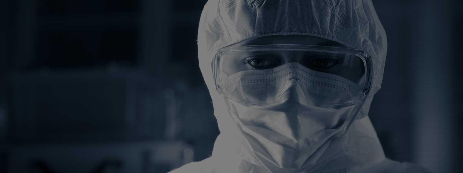 Researcher Wearing Hazmat Suit